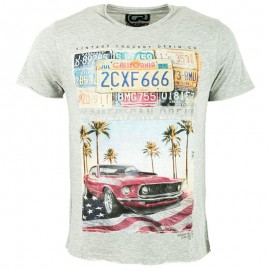 Tee Shirt PATRIOT American dream gris Homme Crossby