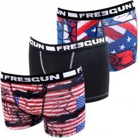 Lot de 3 Boxer Noir Bleu Rouge USA Edition Garçon Freegun