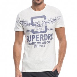 Tee Shirt Blanc Round Neck Homme Superdry