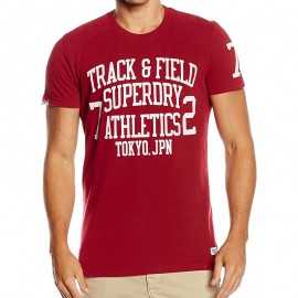 Tee Shirt Rouge Trackster Homme Superdry