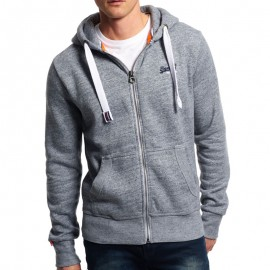 Sweat à Capuche Gris Label Zip Hoodie Homme Superdry