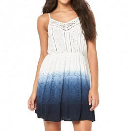 Robe Blanc Bleu Dip Dye Schiffli Chelsea Dress Femme Superdry