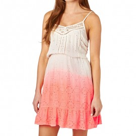 Robe Blanc Orange Dip Dye Schiffli Chelsea Dress Femme Superdry