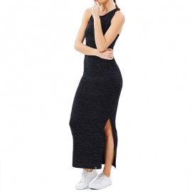 Robe Noir Essential Split Maxi Dress Femme Superdry