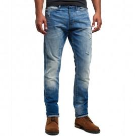 Pantalon Jean Bleu Biker Homme Superdry
