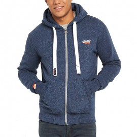 Veste à Capuche Bleu Chiné Orange Label Ziphood Homme Superdry
