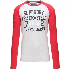 Tee Shirt Manches Longues Gris Trackster Baseball Homme Superdry