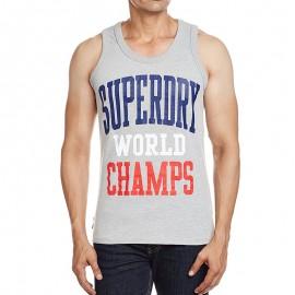 Débardeur Gris World Champs Vest Homme Superdry