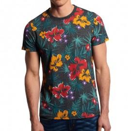 Tee Shirt Gris Dry Hawaiian AOP Homme Superdry