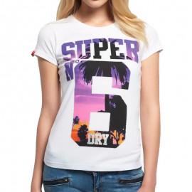 Tee Shirt Blanc Super No 6 Femme Superdry