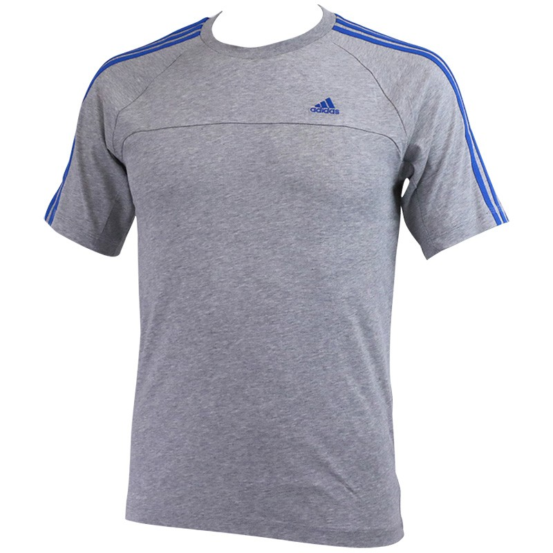 Tee Shirt Gris Essentials 3 Stripes Crew Entrainement Homme Adidas