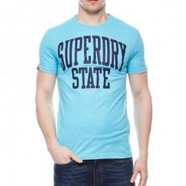 Tee Shirt STATE FLURO bleu Homme Superdry