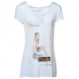 Tee Shirt long WINNIE blanc Femme Deeluxe
