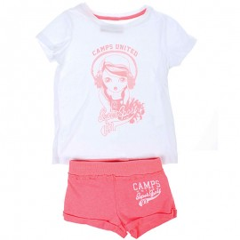 Ensemble Tee-shirt et Short blanc Fille Camps