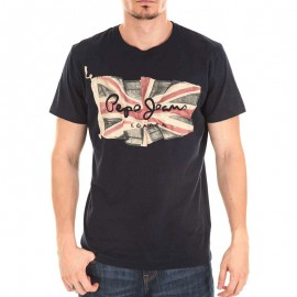 Tee Shirt Flag Logo Noir Homme Pepe Jean