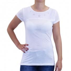 Tee Shirt Bi-matière FAFA Blanc Femme Deeluxe