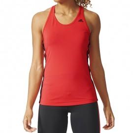 Debardeur Basic 3 Stripes Tank Rouge Femme Sport Adidas