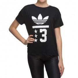 Tee Shirt Trefoil Noir Femme Adidas
