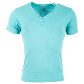Tee Shirt col boutonné OPEN bleuHomme Crossby