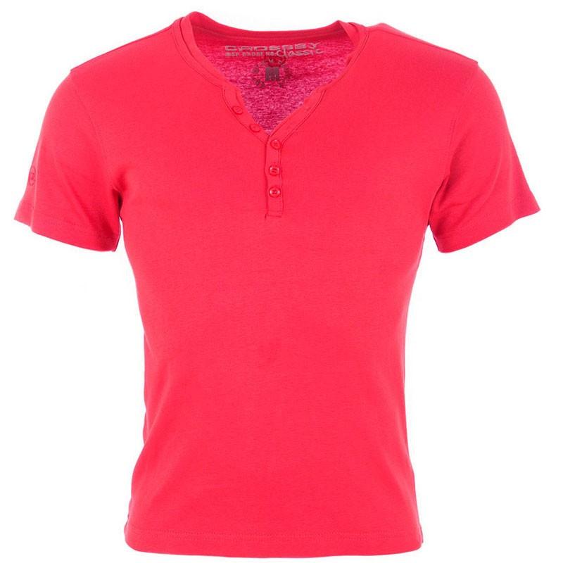 Tee Shirt col boutonné OPEN Rouge fonçé Homme