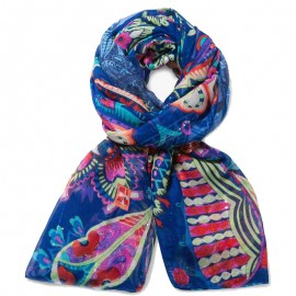Foulard rectangle Vakiria Bleu Femme Desigual