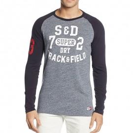 Tee Shirt Trackster Baseball Gris Homme Superdry
