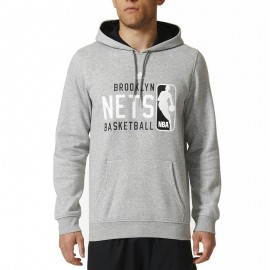 Sweat à Capuche Brooklyn Nets Gris Basketball Homme Adidas
