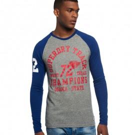 Tee Shirt Trackster Baseball Bleu Homme Superdry