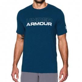 Tee shirt Wordmark Bleu Homme Under  Armour