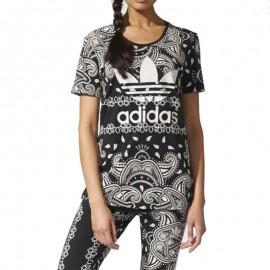 Tee Shirt Paisley Noir Femme Adidas