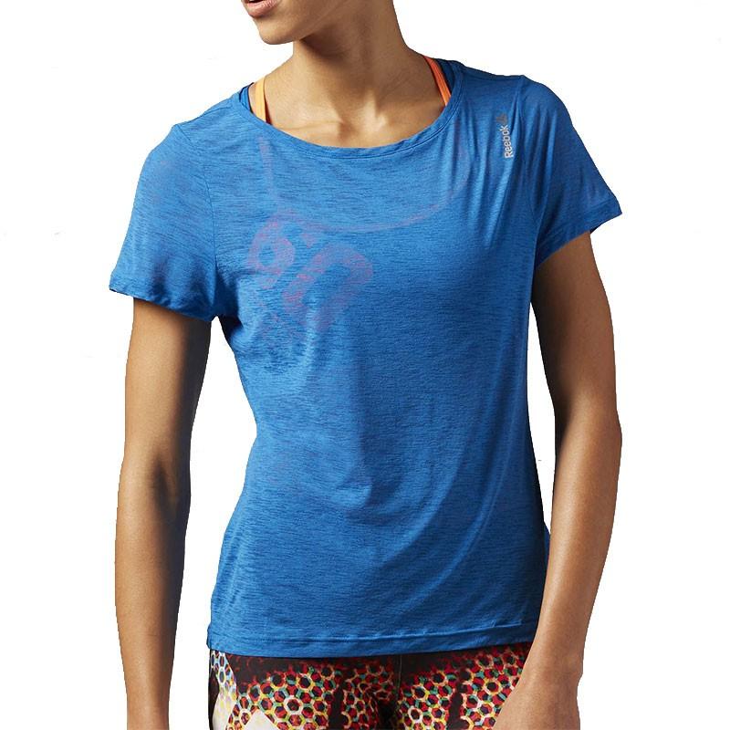 Light Tee Slub Reebok Bleu Shirt Sport Femme WED29HI