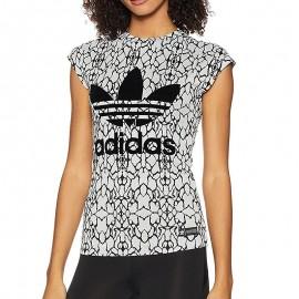 Tee-Shirt Jacquard Blanc Femme Adidas