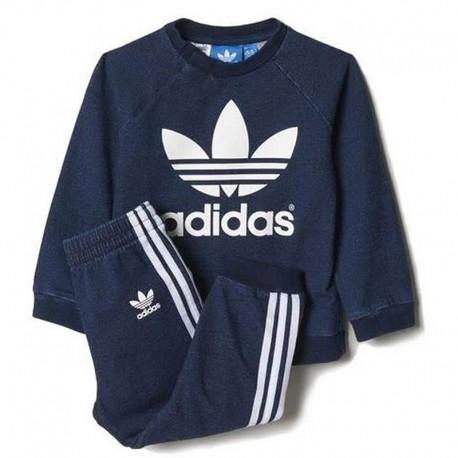Survêtement Crew Bleu denim Bébé Garçon Adidas