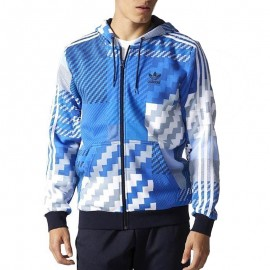 Sweat à Capuche Zippé Bleu Homme Adidas