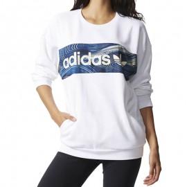 Sweat Crew Blanc Femme Adidas