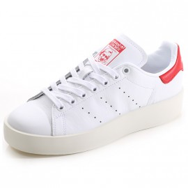Chaussures Stan Smith Blanc Rouge Femme Adidas