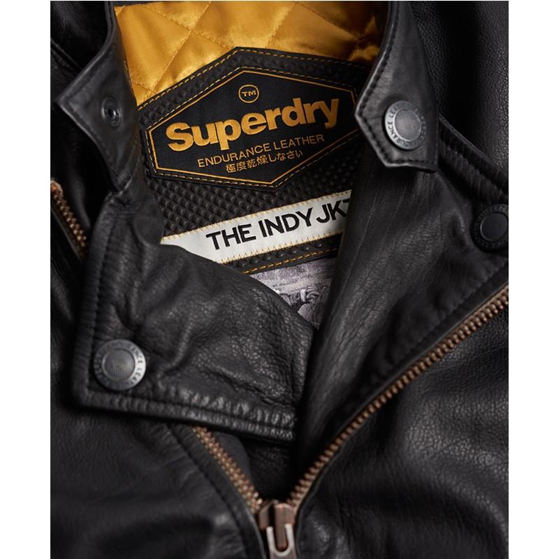 Blouson en cuir Endurance leather Noir Homme Superdry