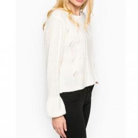 Pull Bell Sleeve Mohair Blanc Femme Superdry