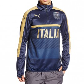 Sweat Figc 1/4 Zip Italie Football Marine Garçon Puma