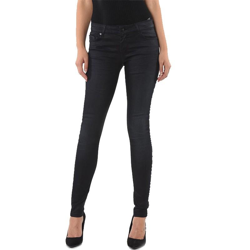 65abe2116841c Jean Push-up Loka Enduit Slim Noir Femme Kaporal