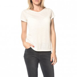 Tee-shirt Pailleté Glitter Blanc Femme Deeluxe