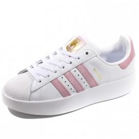 Chaussures Superstar Bold Blanc Rose Femme Adidas