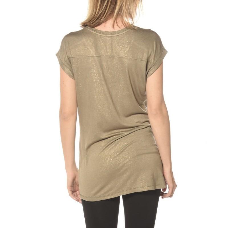 Tee-shirt Pailleté Ultra Kaki Femme Deeluxe