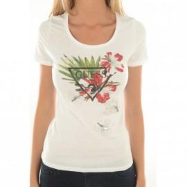 Tee-shirt Ecru Femme Guess