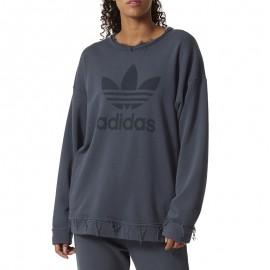 Sweat Trefoil Usé Gris Femme Adidas