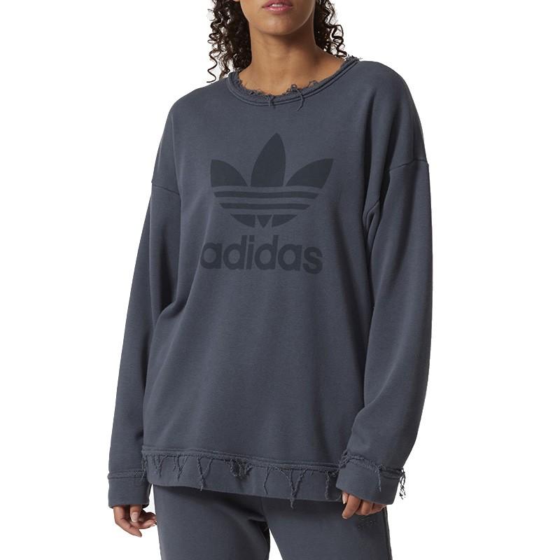 obtenir pas cher grande remise prix de détail Sweat Trefoil Usé Gris Femme Adidas