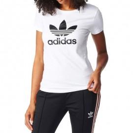 Tee Shirt Trefoil Blanc Femme Adidas