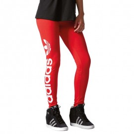 Legging Linear Rouge Femme Adidas