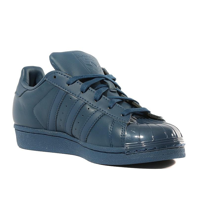 Chaussures Superstar Glossy Toe Bleu Femme Adidas