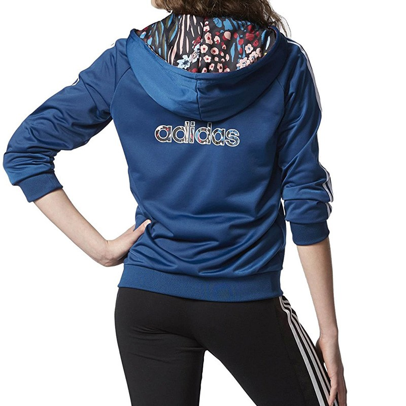 sweat capuche slim hoodie bleu femme adidas. Black Bedroom Furniture Sets. Home Design Ideas